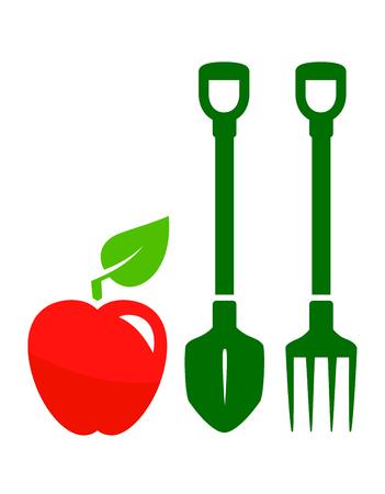 pitchfork: garden harvest symbol with red apple, shovel and pitchfork