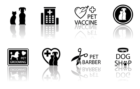 cat grooming: veterinary icon set with pet medical objects and mirror reflection silhouette Illustration