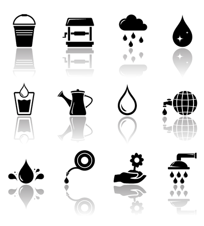 reflection mirror: black water icon set with mirror reflection silhouette