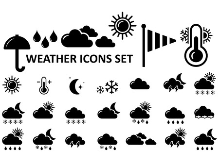 black isolated weather icons set on white background