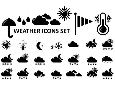 meteo: neri isolati icone meteo impostato su sfondo bianco