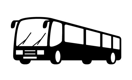 black isolated bus silhouette on white background Stock Illustratie