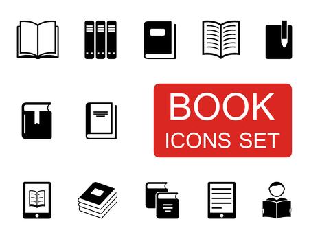 libro abierto: conjunto de iconos negros de libros aislados en el fondo blanco Vectores