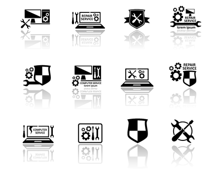 computer services: set of black isolated computer support services icons Illustration