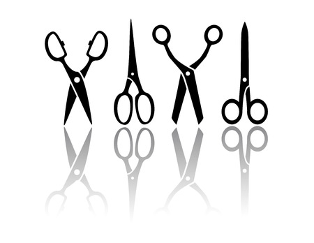scissors hair: set isolated scissors with mirror reflection silhouette Illustration