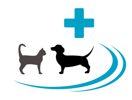 isolated dog and cat silhouette on blue veterinary symbol