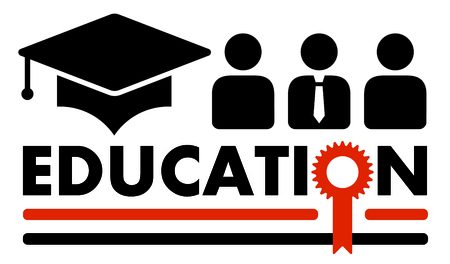 colleges: black education symbol with gold award silhouette Illustration