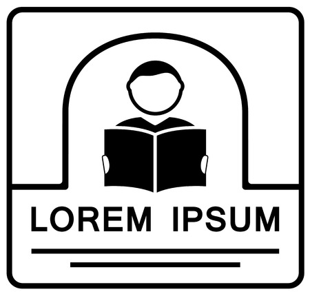 guidebook: icon with reading man silhouette with book on hand