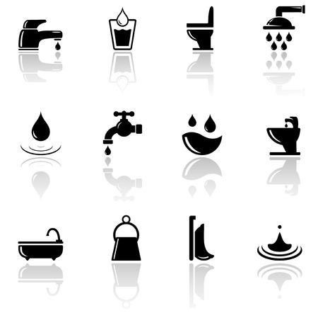 fontaneria: conjunto de plomería negro iconos de ingeniería sanitaria con espejo reflexión silueta Vectores