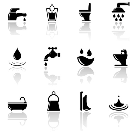 set of black plumbing sanitary engineering icons with mirror reflection silhouette