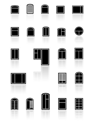 window sill: set black windows with mirror reflection silhouette