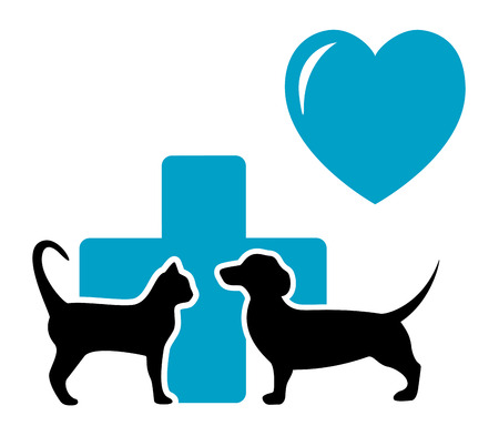 cat call: blue veterinarian symbol with black cat and dog dachshund silhouette Illustration