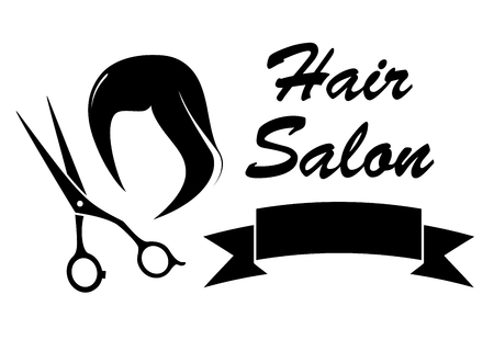 hair brush: black wig and scissors silhouette on barber icon
