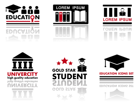 set collections art icons for education industry Illustration