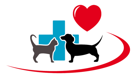 dachshund dog and cat silhouette on veterinary art icon