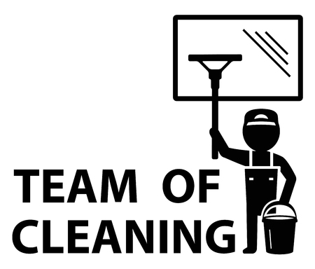 window: black icon with man wipes window silhouette. team of cleaning symbol Illustration