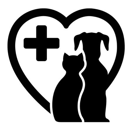 veterinaria: icono negro con el perro y el gato en la silueta del corazón por los servicios veterinarios