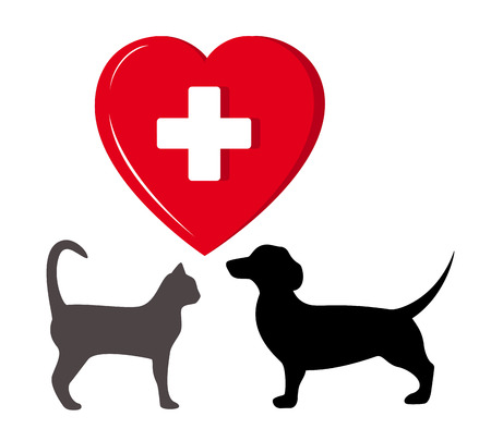 pet silhouette with big red heart - veterinary symbol