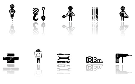 perforator: set isolated construction icons with tools silhouette