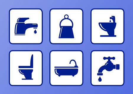 tomando agua: conjunto de iconos de ba�o en fondo azul