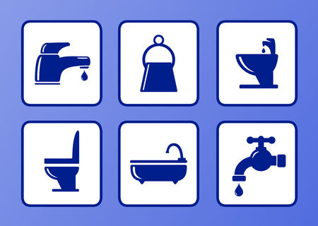 faucet water: set of bathroom icons on blue background Illustration
