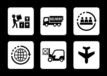 logistics concept icons set on black background