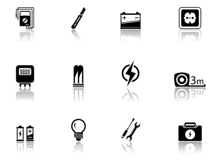 set of black isolated electrical equipment objects