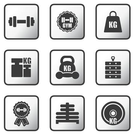 carga: configurar los botones brillantes de metal con los iconos de peso