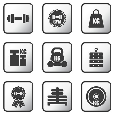 heavy load: set glossy metal buttons with weight icons Illustration