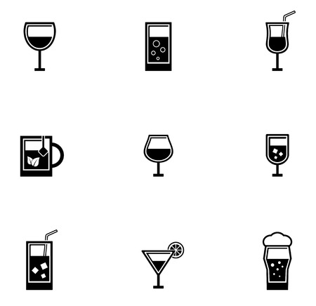black isolated drinking glasses icons set on white background Vectores