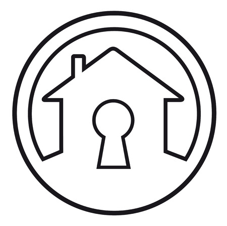 lock symbol: round icon with house lock concept symbol Illustration