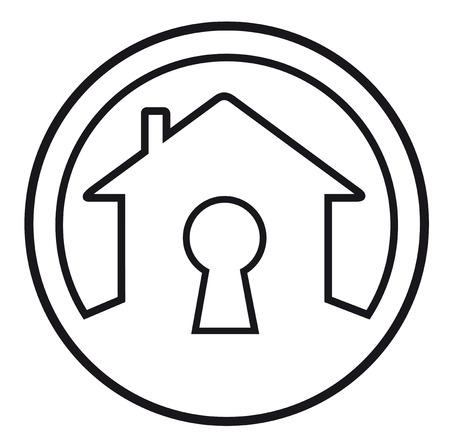 lock symbol: round icon with house lock concept symbol Illustration