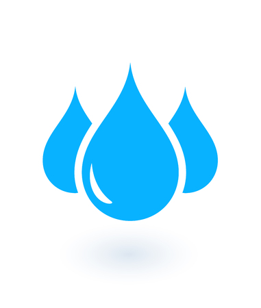 wetness: blue icon with isolated drops on white background
