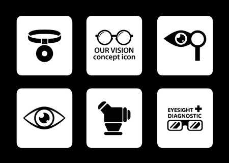 eye exams: set of six isolated optician icons on black background