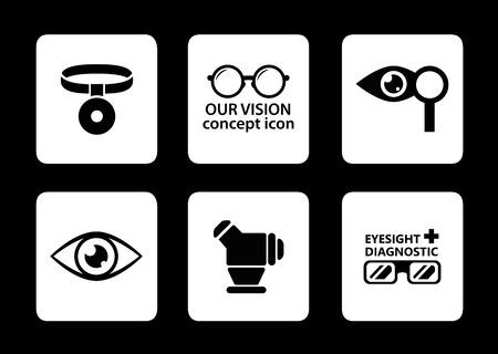 optician: set of six isolated optician icons on black background