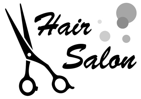 wig: symbol of hair salon with isolated scissors Illustration