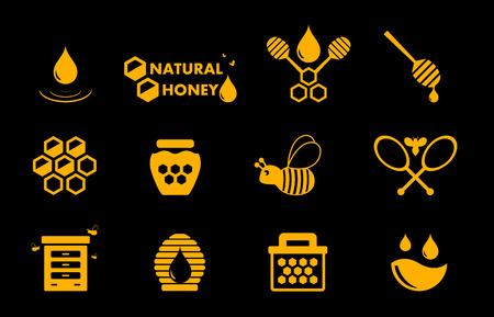 mead: yellow honey icons set on black background