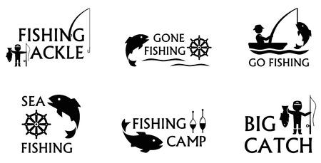 Conjunto de iconos aislados sobre fondo blanco con símbolos de pesca