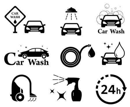 washes: black isolated car wash icons set on white background Illustration