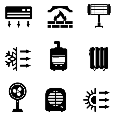 furnace: set isolated icons with heating equipment silhouette