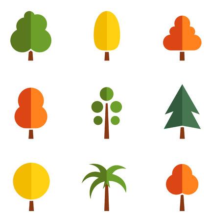 arbres silhouette: ensemble de neuf arbres colorés isolés silhouette sur le style origami