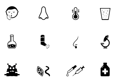 asthma inhaler: set of isolated black illness concept icons