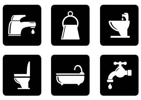 six objects: set of six black icons with white plumbing objects