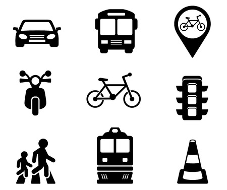 autobus: set of black isolated road signs with black silhouette Illustration