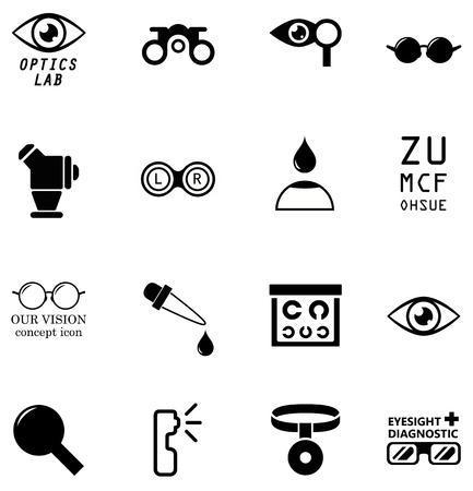 iletişim: beyaz zemin üzerine optometrinin izole simgeleri ayarlamak