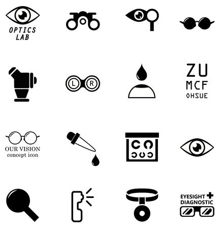 diopter: set optometry isolated icons on white background Illustration