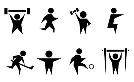 tightening: black isolated silhouette with sports and athletics icon set