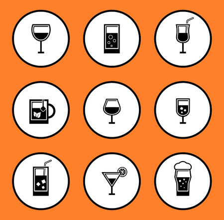 black glassful icon set for water or alcohol beverage on white background