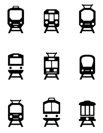 a way: set of black train icons for passenger transportation industry