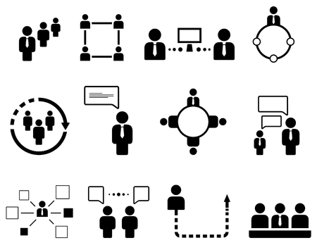 workteam: set of isolated concept human resource icons
